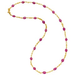 Ruby Bead Necklace 22 Karat Gold Yellow Gold