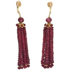 Ruby Beaded Tassel Earrings with 14 k Yellow Gold Beads and Wiring