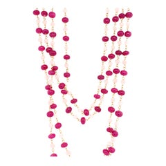 Ruby Beads and Cultured South Sea Pearl 22 Karat Gold Necklace
