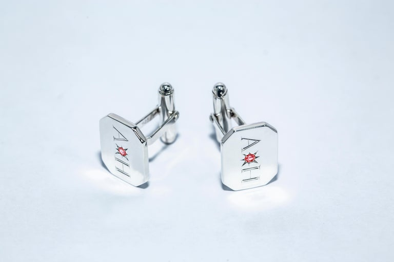 Round Cut Ruby Bespoke Sterling Silver Rectangular Engraved Modern Classic Cufflinks For Sale