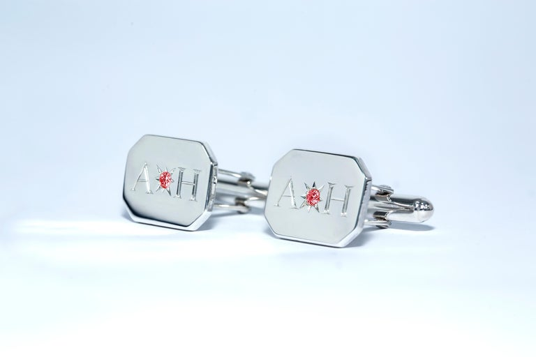Ruby Bespoke Sterling Silver Rectangular Engraved Modern Classic Cufflinks In New Condition For Sale In London, GB