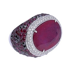 Ruby Black and White Diamond White Gold Cocktail Ring