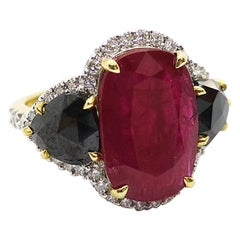 Ruby, Black Diamond with Diamond Ring Set in 18 Karat Gold Settings