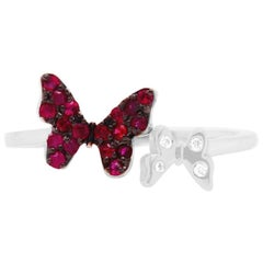 Ruby Black Rhodium 14 Karat White Gold Butterfly Ring