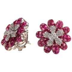 Ruby Blazing Flower Earrings with Diamonds