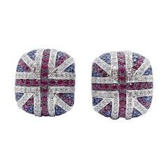 Ruby, Blue Sapphire and Diamond British Flag Earrings in 18 Karat White Gold