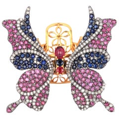 Ruby Blue Sapphire Diamond Butterfly Ring
