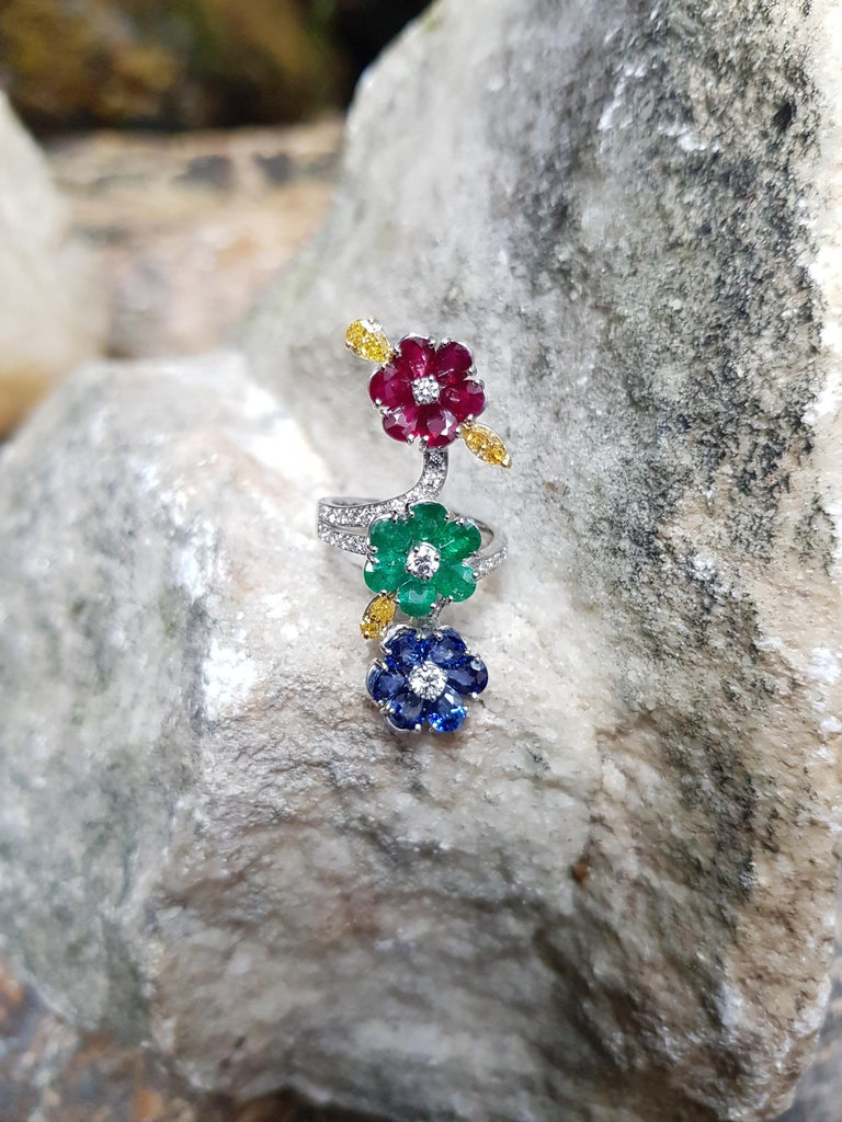 Contemporary Ruby, Blue Sapphire, Emerald with Yellow Diamond and Diamond Ring 18k White Gold For Sale