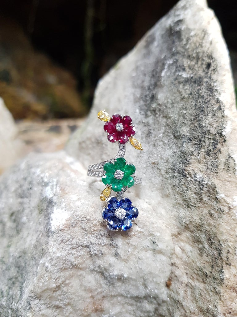 Pear Cut Ruby, Blue Sapphire, Emerald with Yellow Diamond and Diamond Ring 18k White Gold For Sale