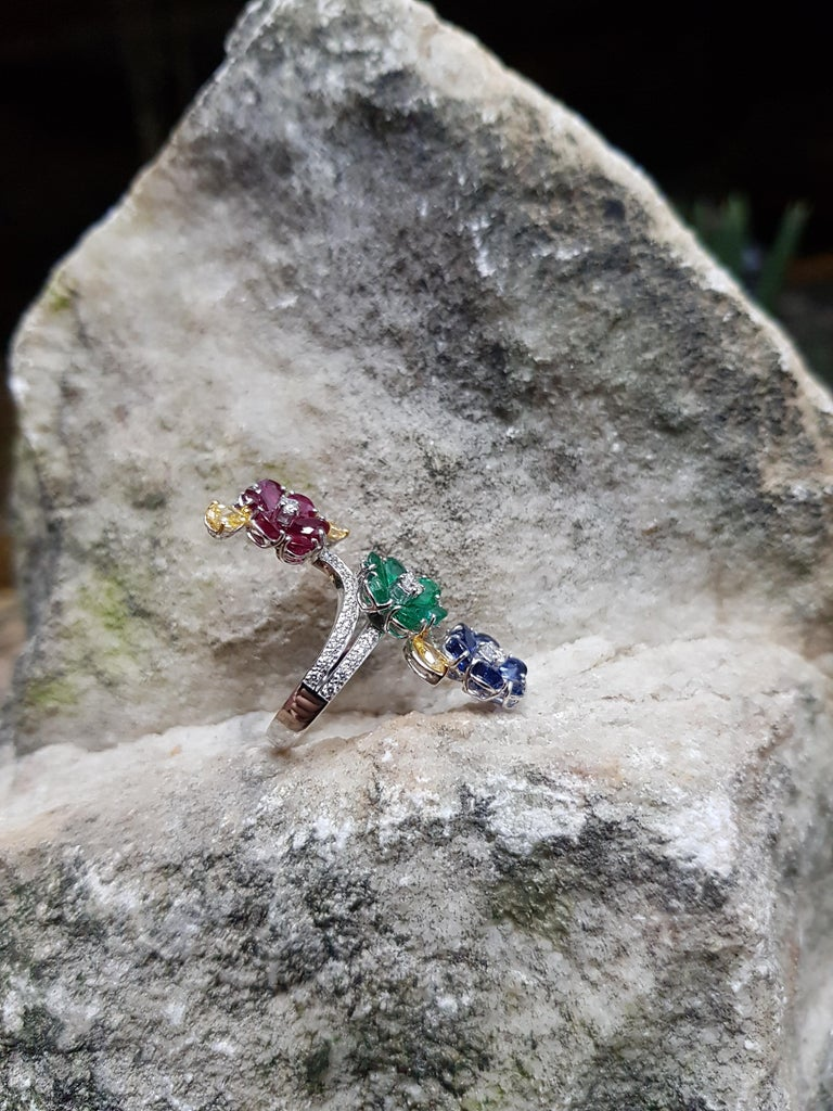 Women's Ruby, Blue Sapphire, Emerald with Yellow Diamond and Diamond Ring 18k White Gold For Sale