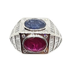 Ruby, Blue Sapphire with Diamond Ring Set in 18 Karat White Gold Settings