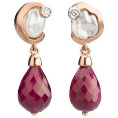 Ruby Briolette Drops, Keshi Pearls, Diamond Earrings in 18 Karat Rose Gold