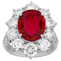 Ruby Burma and Diamond Ring, 5.20 Carat