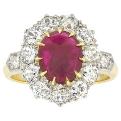 Ruby Cabochon and Diamond Cluster Ring
