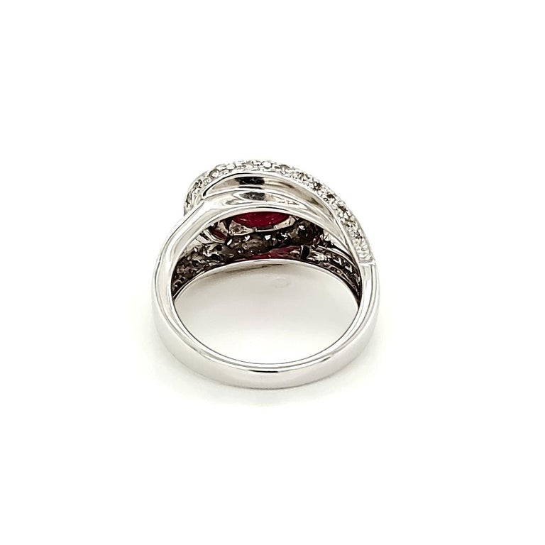 Contemporary Ruby Cabochon and Diamond Ring For Sale