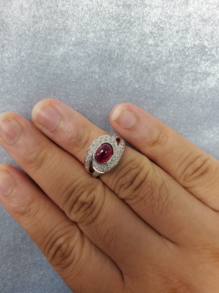 Ruby Cabochon and Diamond Ring In New Condition For Sale In Admiralty, HK