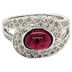 Ruby Cabochon and Diamond Ring