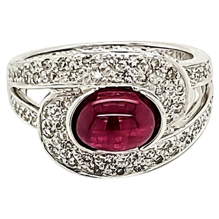 Ruby Cabochon and Diamond Ring For Sale