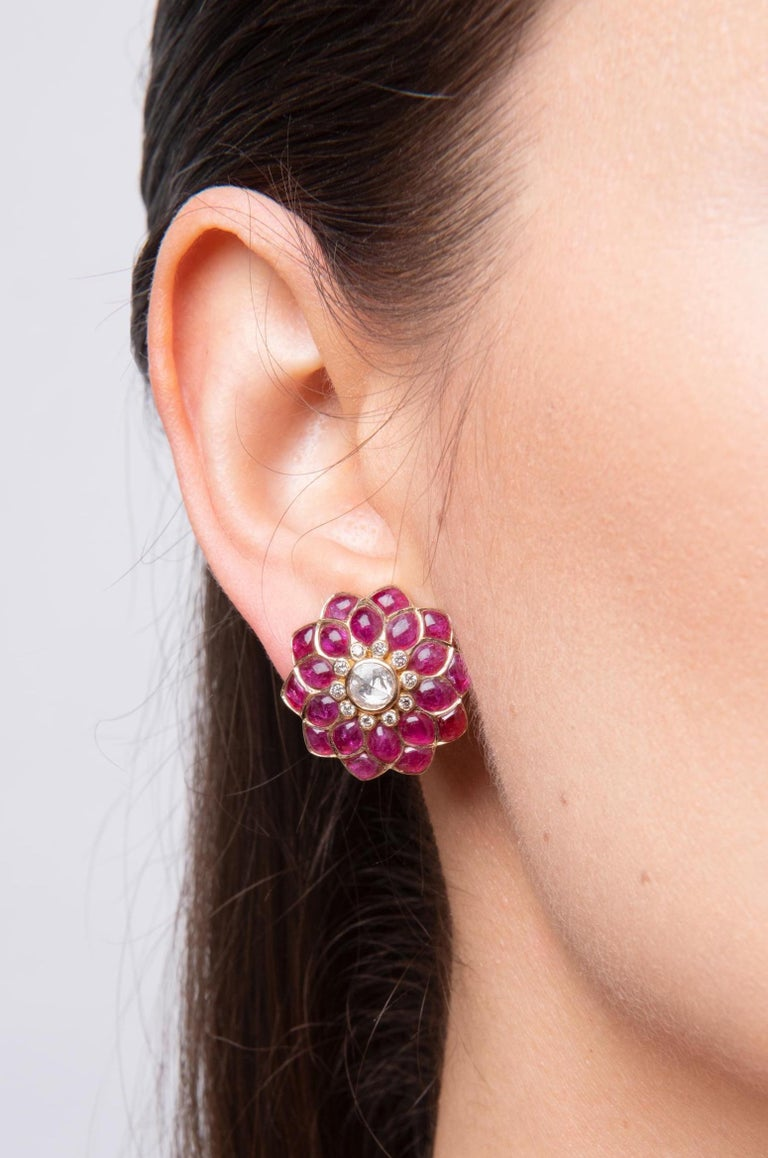 Ruby Cabochon and Rose-Cut Diamond 18 Karat Gold Earrings by Manpriya B 2