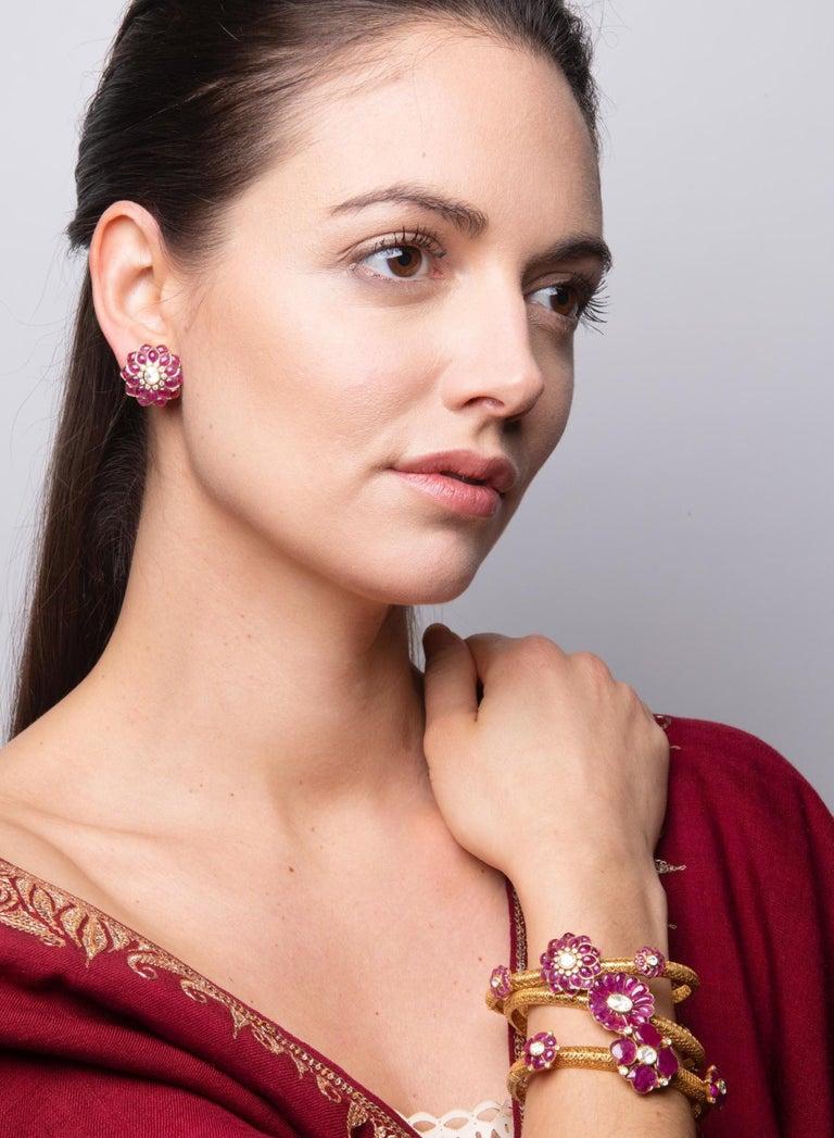 Ruby Cabochon and Rose-Cut Diamond 18 Karat Gold Earrings by Manpriya B 3