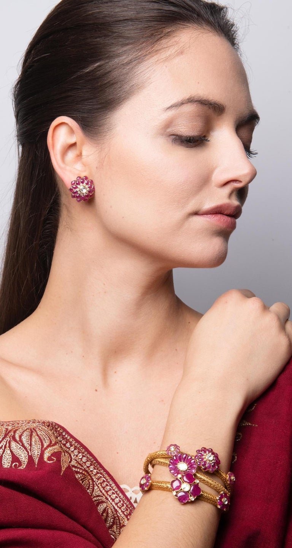 Ruby Cabochon and Rose-Cut Diamond 18 Karat Gold Earrings by Manpriya B 4