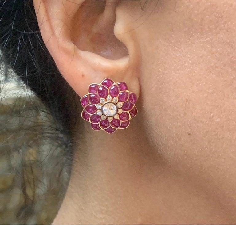 Ruby Cabochon and Rose-Cut Diamond 18 Karat Gold Earrings by Manpriya B 6
