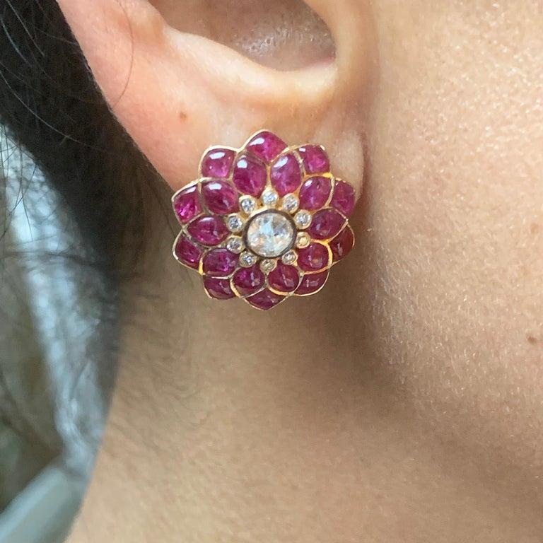 Ruby Cabochon and Rose-Cut Diamond 18 Karat Gold Earrings by Manpriya B 7