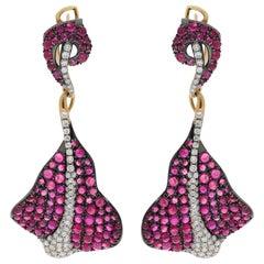 Ruby Cabochon Diamonds 18 Karat Yellow and Black Gold Stingray Earrings