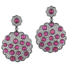 Goshwara Ruby Cabochon With Diamond Cluster Earring