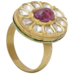 Ruby Cabochon with Uncut Diamonds Enamel Ring Handcrafted in 22K Yellow Gold