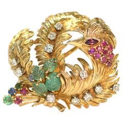Ruby, Carved Emerald and Diamond 18 Karat Gold Phoenix Brooch