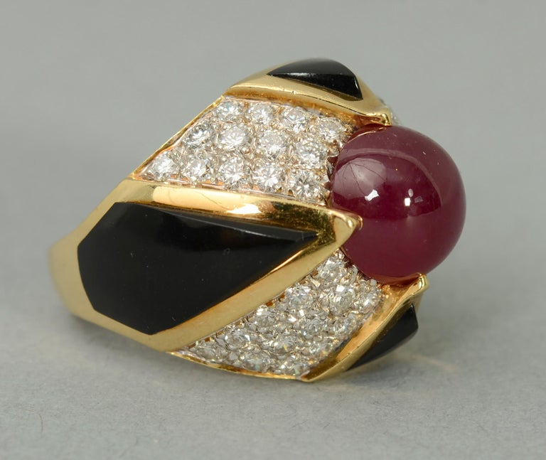 Modern Ruby, Carved Onyx and Diamond Cocktail Ring For Sale