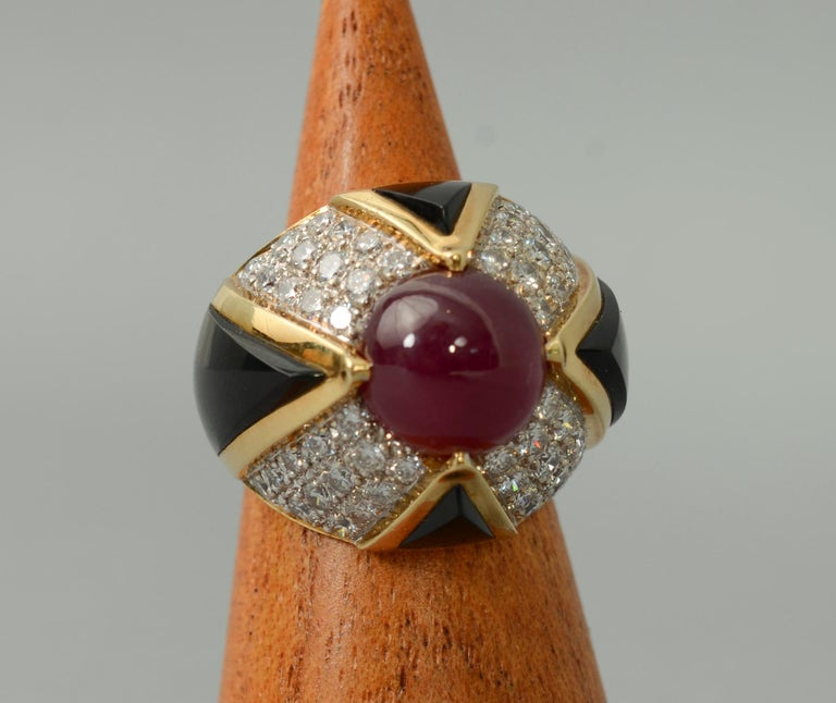 Women's or Men's Ruby, Carved Onyx and Diamond Cocktail Ring For Sale