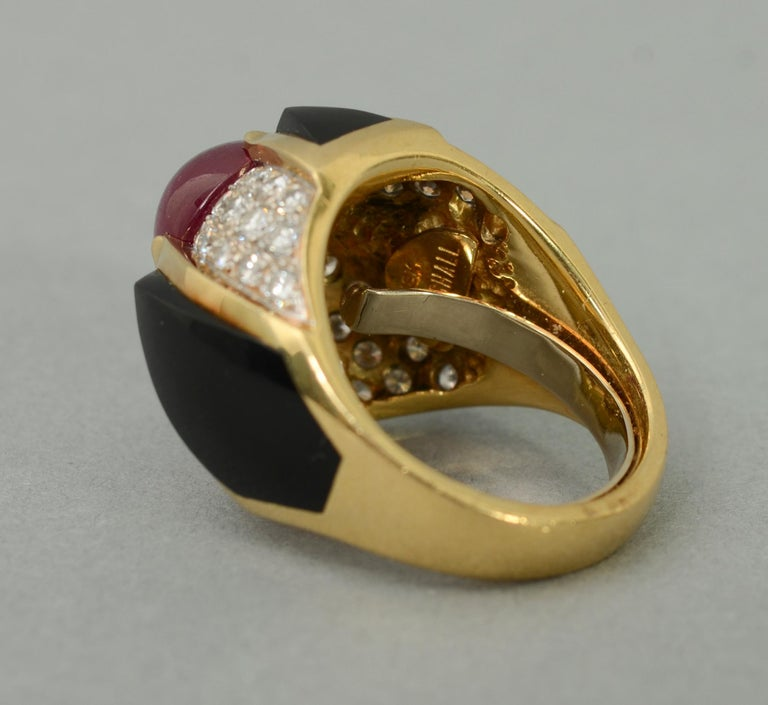 Ruby, Carved Onyx and Diamond Cocktail Ring For Sale 1