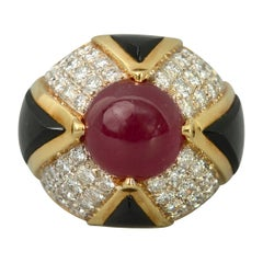 Ruby, Carved Onyx and Diamond Cocktail Ring