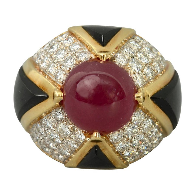 Ruby, Carved Onyx and Diamond Cocktail Ring For Sale