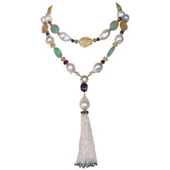 Ruby, Citrine, 14 Karat Gold, Pearl, and Apatite Sautoir Necklace with Tassel
