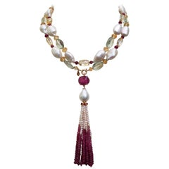 Ruby, Citrine, Topaz, White Pearl, and 14 Karat Yellow Gold Necklace with Tassel