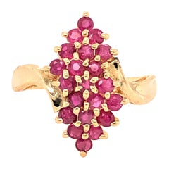 Ruby Cluster Yellow Gold Pyramid Cocktail Ring