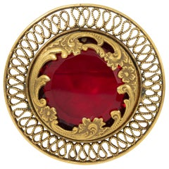 Ruby Crystal Art Nouveau Style Pin Brooch in Gold, Open Back Setting in Gold