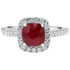 Ruby Cushion Diamond Round Halo Gold Engagement Bridal Fashion Cocktail Ring