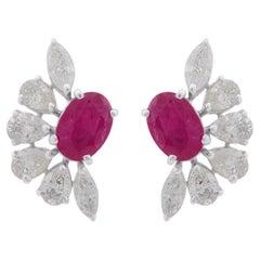Ruby Diamond 10 Karat Gold Stud Earrings