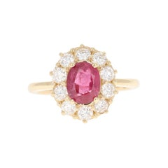 Ruby Diamond 14 Karat Yellow Gold Ballerina Bridal GIA Certified Ring