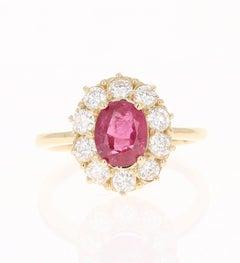 Ruby Diamond 14 Karat Yellow Gold Ballerina Bridal GIA Certified Ring