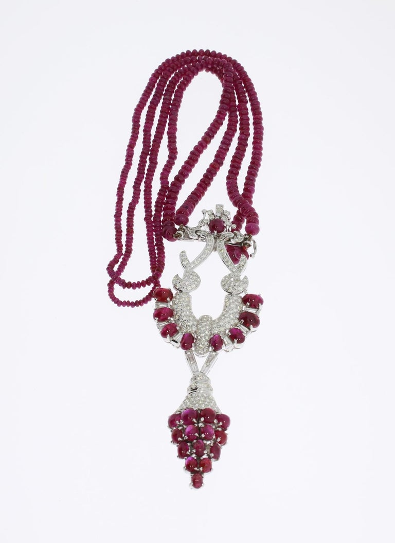 18 Carat Rose Gold: Ruby Diamond 18 Carat Gold Necklace For Sale At 1stdibs