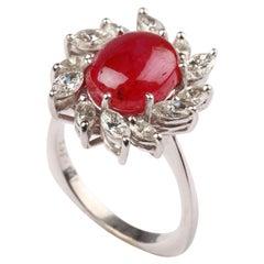Ruby Diamond 18 Carat White Gold Ring