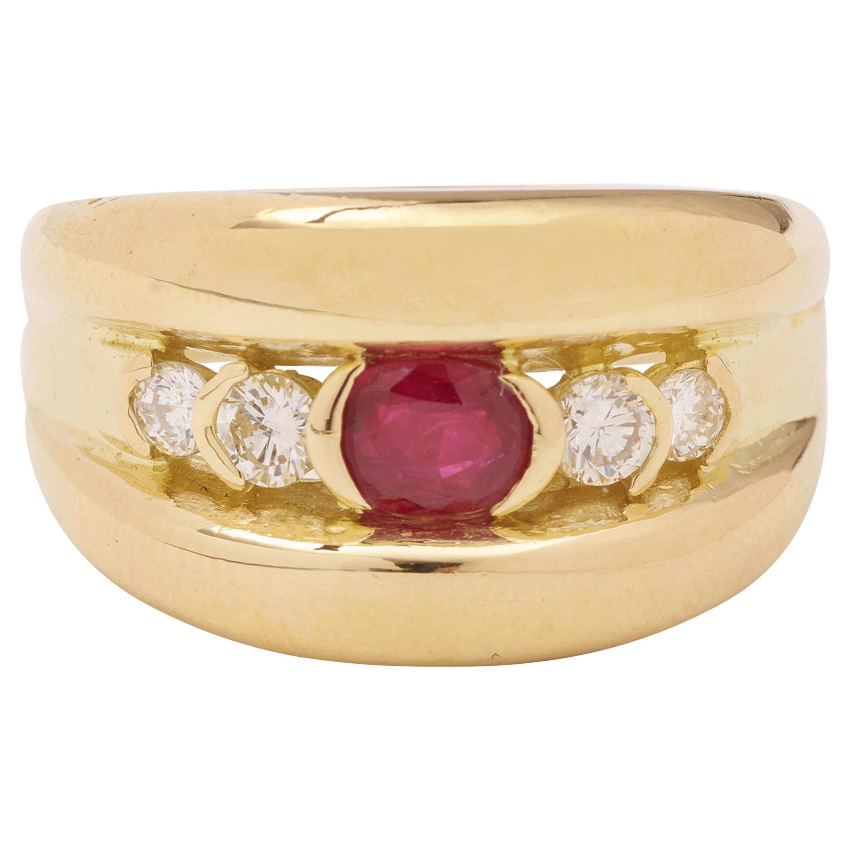 Ruby Diamond 18 Carat Yellow Gold Band Ring