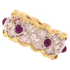 Ruby Diamond 18 Karat Gold Band Ring