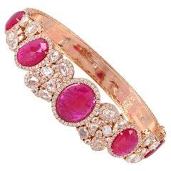 Ruby Diamond 18 Karat Gold Bangle Bracelet