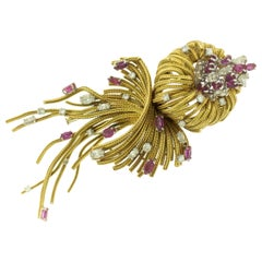Ruby Diamond 18 Karat Gold Brooch